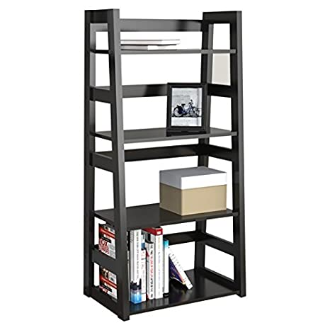 "Modern Design Trestle 44.25"" Bookcase in Rich Black Finish,it Includes Four Shelves, Which Offers Ample Storage Space It Is Also Excellent Addition to a Contemporary Style Room Decor."