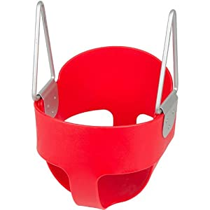 High Back Full Bucket Toddler Infant Swing Seat - Seat Only, Red with SSS logo Sticker