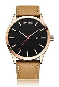 CURREN Men's Analog Quartz Display Calendar Alloy Case Leather Band Casual Simple Wrist Watch Khaki