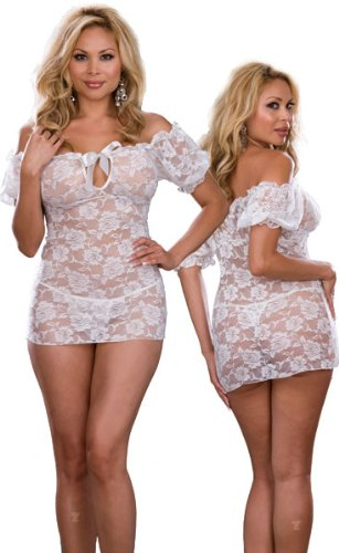 Discount Plus Size Sexy Sheer White Lace Babydoll Lingerie Set