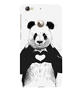Panda with Heart Sign 3D Hard Polycarbonate Designer Back Case Cover for LeEco Le 1s :: LeEco Le 1s Eco :: LeTV 1S