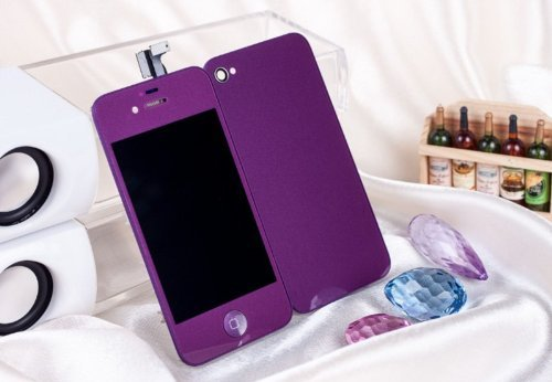 Generic Purple Lcd Touch Screen Digitizer Glass Assembly + Button For Iphone 4S