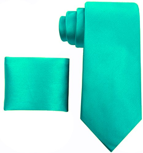 100% Silk Solid Sea-Foam Green Necktie with Pocket Square by Scott Allan Collectin (Solid Silk Ties For Men compare prices)