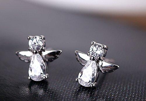 Sterling Silver Crystal Diamond Design Lovely Angel wings Stud Earrings-White - 1