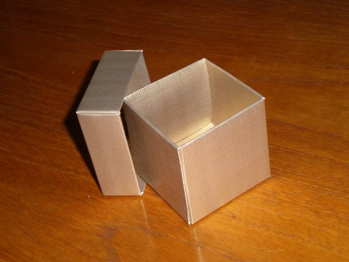 Gold Square Texured Favor Box, Includes Separate Lid, set of 10