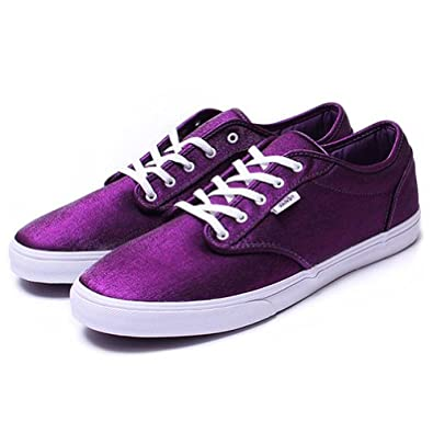 Buy Vans Ladies Atwood Low Shine Sneakers Plumwhite 9.5 by Vans