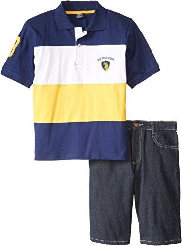 U.S. Polo Assn. Big Boys' Cut And Sew Polo And Denim Short Set, Gold, 12