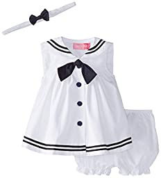 Good Lad Baby-Girls Newborn Nautical Dress, White, 3-6 Months