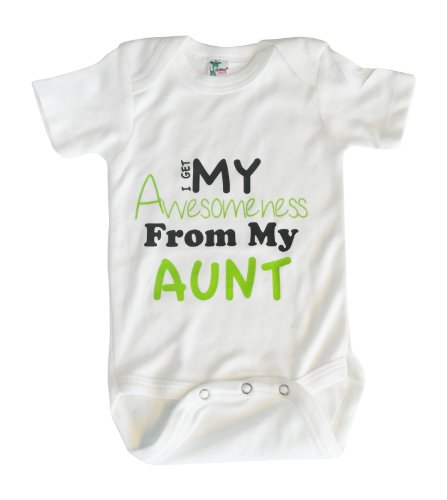 Kiddieco Baby Awesome Aunt White Bodysuit 0-3 Months Green Print