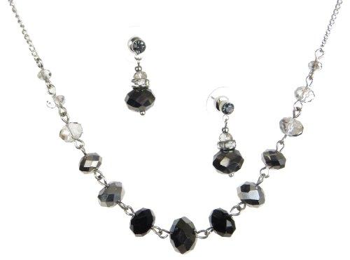 Silver Tone Jet Black Glass Bead Necklace & Drop Earrings Set