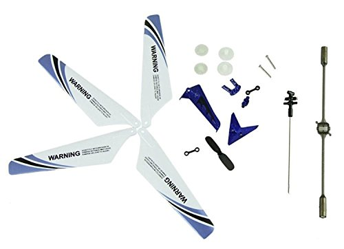 Eastvita Full Set Replacement Parts including Main Blades, Main Shaft,Tail Decorations, Tail Props, Balance Bar, Gear Set,Connect Buckle-Blue Set for Syma S107 RC Helicopter (Syma 107 Replacement Parts compare prices)