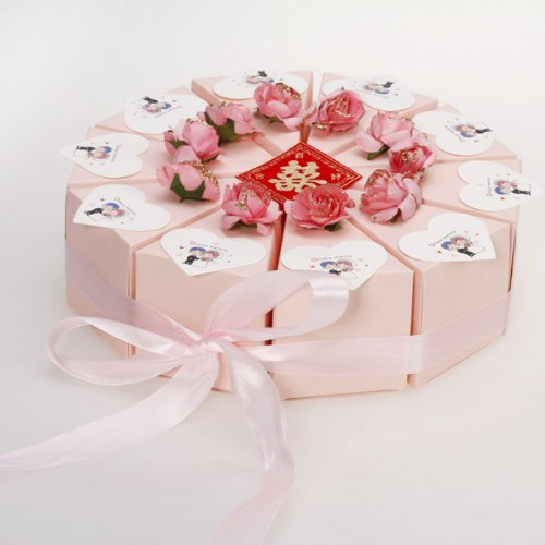 Pink Cake Slice Box Baby Shower Wedding Favor Box Centerpiece