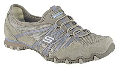 Skechers BIKERS HOT-TICKET Womens Leather Shoes Taupe - 4 UK