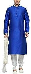 Indian Poshakh Men's Silk Sherwani (1150_40, 40, Blue and White)