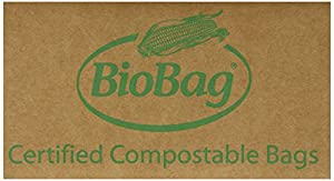 BioBag Food Waste Compostable Bags 3 Gallon, 25-Count (Pack of 4)