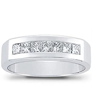 1.00 ct Men's Princess Cut Diamond Wedding Band Ring in Platinum In Size 15