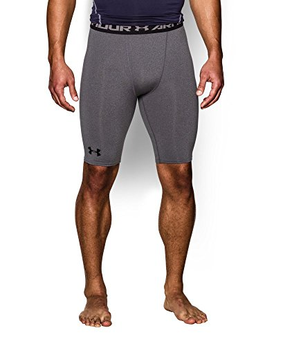 Under Armour Men's HeatGear Armour Compression Shorts - Long, Carbon Heather (090), Medium