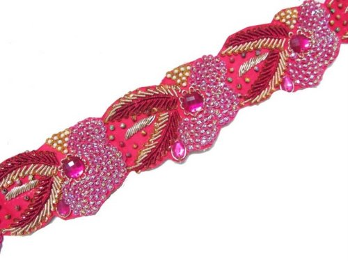 Exclusive Hand Beaded Pink Sequin Bullion Stone Trim 1.5Y