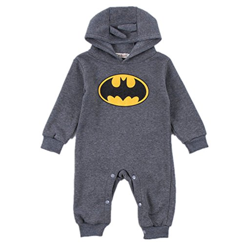 [OuTaking Baby Boys' Batman Hood One-piece Little Boys Jumpsuit for 0-24 Months] (Batman Outfit Baby)