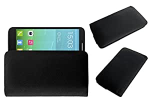 Acm Rich Leather Soft Case For Alcatel One Touch Idol 2 6037 Mobile Handpouch Cover Carry Black