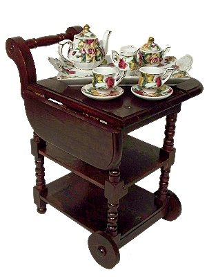 "Wooden Drop Leaf Tea Cart - Scaled for American Girl Dolls and 18 - 22"" Dolls"