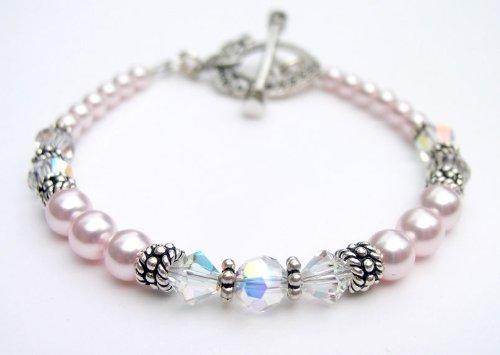 Pearl Bracelets: Sage Green Pearl Swarovski Crystal Sterling Silver Marcasite Beaded Bracelets/White Pearl Bracelets
