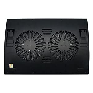 Front Base Laptop Cooling Pad for Ultrabook to 17 inch Laptops with 2 Fans of 5.5 inch at 1400 rpm, 23 dBA Quiet Fans, 2 Adjustable Angles (Black)