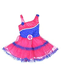D.S. Fashion Baby Girls Frock (Dark Pink & Blue, 18)