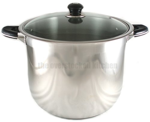 NEW 20-QUART HEAVY-GAUGE STAINLESS STEEL (18/10) STOCK POT W/ GLASS LID COVER (18 Gauge Stainless Steel Pot compare prices)