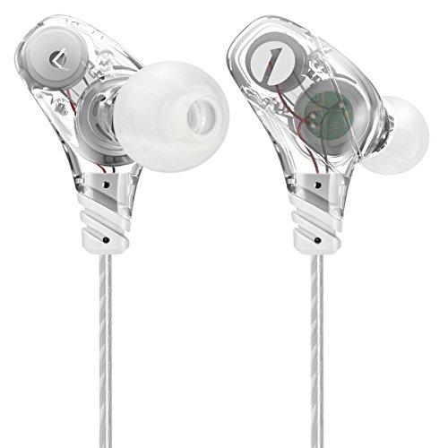 Cuffie Auricolari In-ear Professionali per Sport 1byone con Dual Driver, Controllo Microfono In-Linea, Auricolari con Isolamento da rumori, Trasparente Bianco