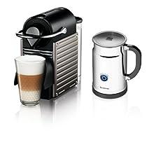 Nespresso Pixie Espresso Maker With Aeroccino Plus Milk Frother Electric Titan
