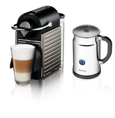 Find Bargain Nespresso Pixie Espresso Maker With Aeroccino Plus Milk Frother, Electric Titan