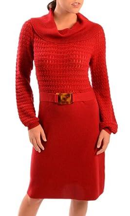 Milly of NY Women's Essie Racked Sweater Dress Cherry LG
