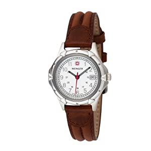 Wenger Women's 70200 Standard Issue White Dial Brown Leather Strap Watch