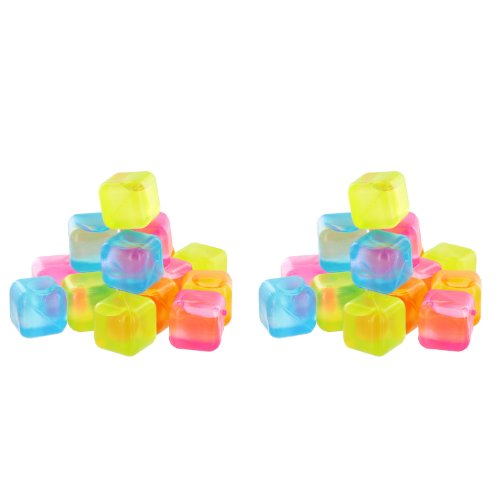 Reusable Plastic Ice Cubes (Colors May Vary), 32 Count