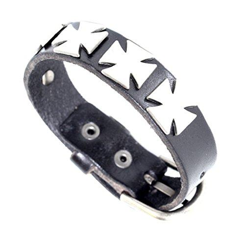 Men Women Unisex Stylish Belt Buckle Style Iron Cross Metal Stud Black Leather Bracelet