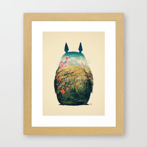 Art forest animals Totoro wind society 6 design 30 cm x 25 cm parallel imported goods * same-day delivery, with the natural amount (frame)