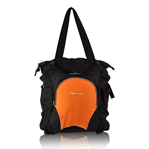 Obersee Innsbruck Diaper Bag Tote With Detachable Cooler, Black/Orange front-541134