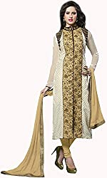 Shree Sai Exports Women's Georgette Unstitched Dress Material (White)