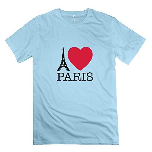 Hd-Print Men'S T-Shirt Eiffel Tower Paris Love Xxl Skyblue