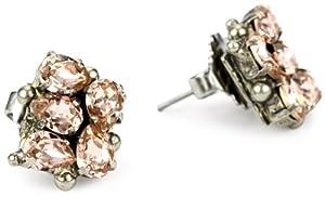 "Sorrelli ""French Blush"" Pear Crystal Cluster Stud Silvertone Earrings"