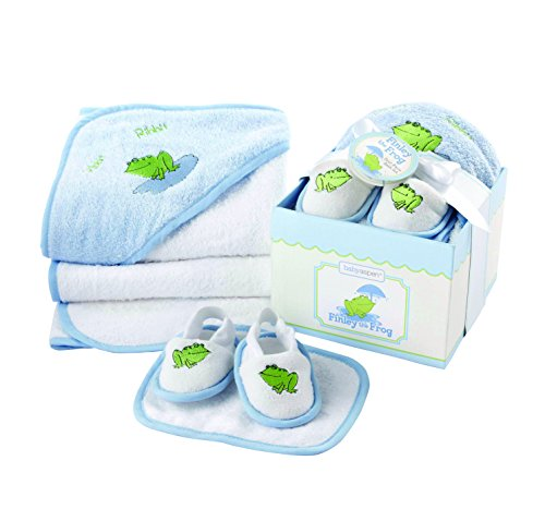 Baby Aspen, Finley the Frog Four-Piece Bathtime Gift Set, Blue, 0-6 Months - 1