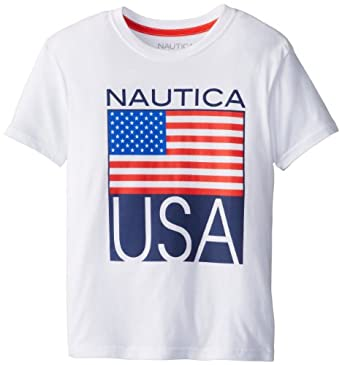Nautica Big Boys' Usa Tee, White, Medium