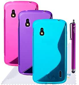 The Friendly Swede (TM) Bundle of 3 Flexible S-Line TPU Cases/Covers for Google Nexus 4 (LG E960) + Stylus + Cleaning Cloth in Retail Packaging (Aqua Blue + Hot Pink + Purple)