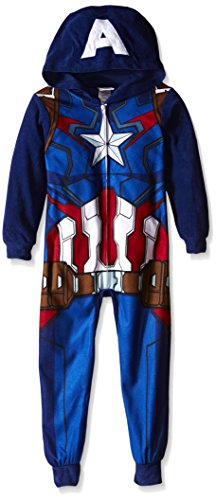 [Marvel Little Boys' Captain America Uniform Hooded Blanket Sleeper, Blue, 4] (Captain America Uniform)
