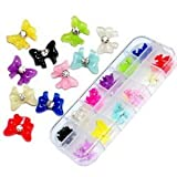 Storage Box 60pcs Mix 12 Colors 3D Rhinestone/Gem Acrylic Bows/Butterfly Nail Art Decoration FROM Y2B