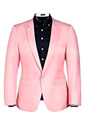 Coofandy Men Casual One Button Solid Slim Fit Blazer Stylish Suit (X-Large, Pink(FBA))