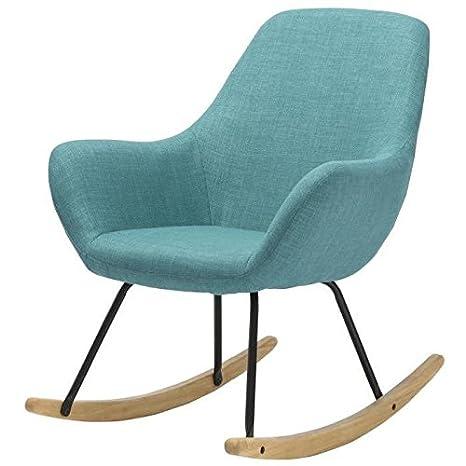 NORTON Fauteuil Rocking chair - Tissu bleu - Pieds métal et bois hévéa massif - Classique - L 41 x P 76 cm