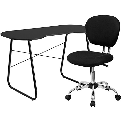 Flash Furniture Computer Desk And Mesh Chair, Black