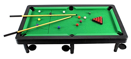 VT Cool 8-in-1 Novelty Toy Billiard Pool Table Game w/ Table, Full Set of Billiard Balls, 2 Cues, Triangle, Accessories